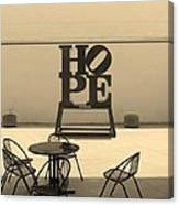 Hope And Chairs In Sepia Canvas Print