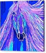Horse Abstract Blue And Purple Canvas Print