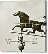 Horse And Buggy Weathervane In Sepia Canvas Print
