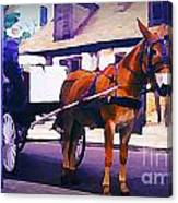 Horse And Carriage In Front Of Lafitte's Blacksmith Shop  Canvas Print