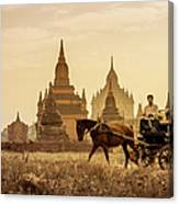Horse And Carriage Turning By Temples Canvas Print