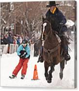 Horse And Skier Slalom Race Canvas Print