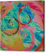 Horse And Spirals In Pink Canvas Print