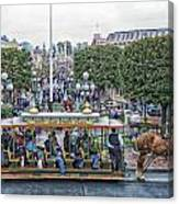 Horse And Trolley Main Street Disneyland 01 Canvas Print