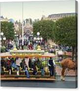 Horse And Trolley Main Street Disneyland 02 Canvas Print
