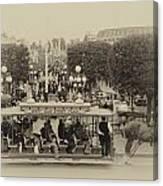 Horse And Trolley Main Street Disneyland Heirloom Canvas Print