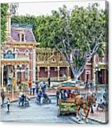Horse And Trolley Turning Main Street Disneyland 01 Canvas Print
