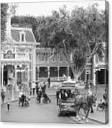 Horse And Trolley Turning Main Street Disneyland Bw Canvas Print