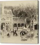 Horse And Trolley Turning Main Street Disneyland Heirloom Canvas Print