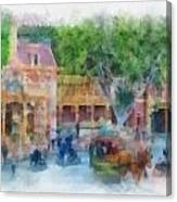 Horse And Trolley Turning Main Street Disneyland Photo Art 01 Canvas Print