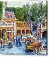 Horse And Trolley Turning Main Street Disneyland Photo Art 02 Canvas Print