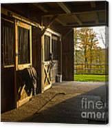 Horse Barn Sunset Canvas Print