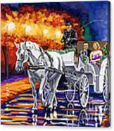 Horse Drawn Carriage Night Canvas Print