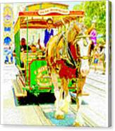 Horse Drawn Trolley Car Main Street Usa Canvas Print