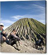 Horse Drivers Near A Volcano At Bromo Java Indonesia Canvas Print