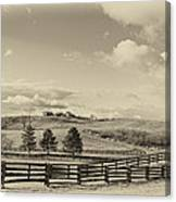 Horse Farm Sepia Canvas Print