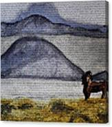 Horse Of The Mountains With Stained Glass Effect Canvas Print