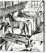 Horse Powered Stall Cleaner, 1880 Canvas Print