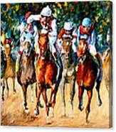 Horse Race - Palette Knife Oil Painting On Canvas By Leonid Afremov Canvas Print