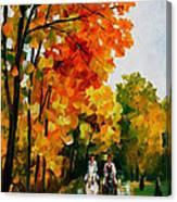 Horseback Stroll - Palette Knife Oil Painting On Canvas By Leonid Afremov Canvas Print