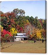 Horses And Barn In The Fall 2 Canvas Print