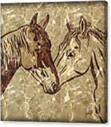 Horses On Marble Canvas Print