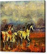 Horses On The Gogh Canvas Print