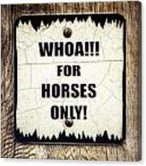 Horses Only Sign Picture Canvas Print