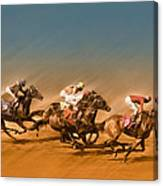 Horses Racing To The Finish Line Canvas Print