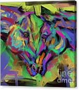 Horses Together In Colour Canvas Print