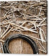 Horseshoe On Barn Floor Canvas Print
