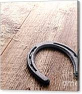 Horseshoe On Wood Floor Canvas Print
