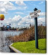 Hot Air Balloon And Old Key West Port Orleans Signage Disney World Canvas Print