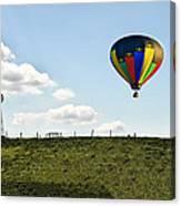 Hot Air Balloon In The Farmlands Canvas Print