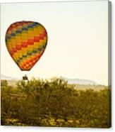 Hot Air Balloon In The Lush Arizona Desert With Saguaro Cactus Canvas Print