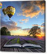 Hot Air Balloons Lavender Landscape Magic Book Pages Canvas Print
