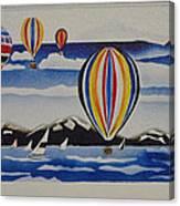 Hot Air Balloons Over Lake Tahoe Canvas Print