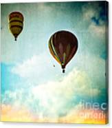 Hot Air Baloons In Blazing Sky Canvas Print