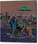 Hot Day At The Beach - Solarized Canvas Print