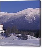 Hotel Near Snow Covered Mountains, Mt Canvas Print