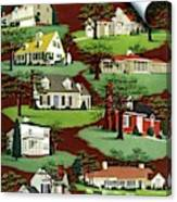 House & Garden Cover Illustration Of 9 Houses Canvas Print