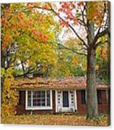 House Among The Crimson And Green Canvas Print