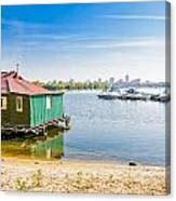 House And Boats On The River Canvas Print