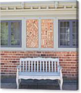 House Brick Exterior With Wood Bench Canvas Print