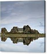 House In Between Rocks Reflected Canvas Print