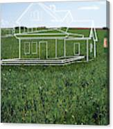 House Plans On Lawn By 'sold' Sign (digital Composite) Canvas Print