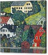 Houses At Unterach On The Attersee Canvas Print