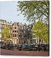 Houses On Singel Canal In Amsterdam Canvas Print
