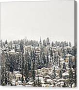 Houses On The Mountain In Winter Canvas Print