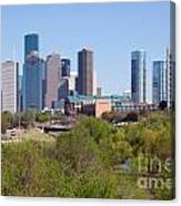 Houston Skyline And Buffalo Bayou Canvas Print